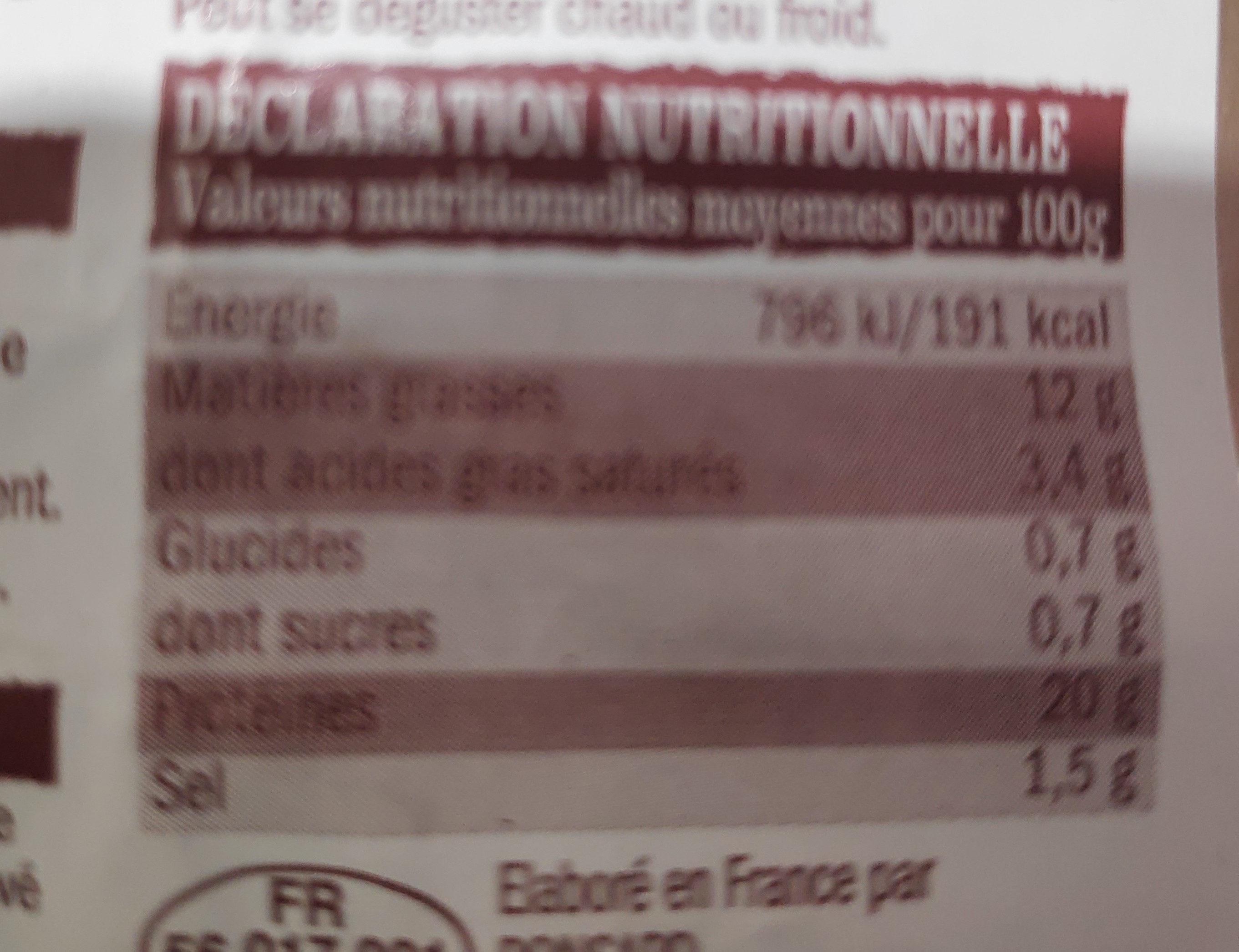 Poulet fumé - Voedingswaarden - fr