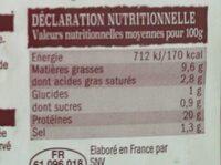 Poulet cuit fumé au bois de hêtre - Nutrition facts