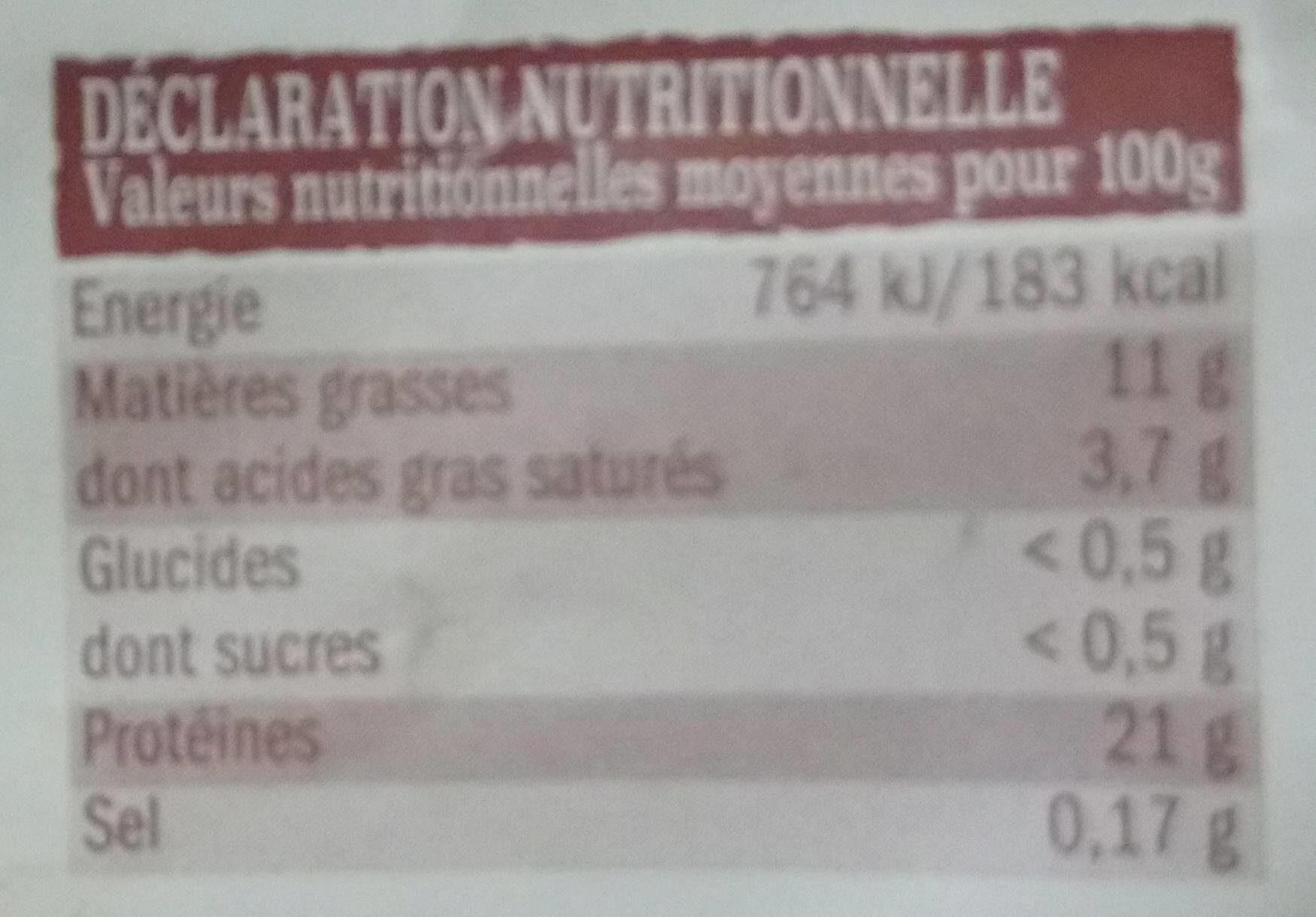 Poulet jaune fermier (Label Rouge) - Nutrition facts - fr