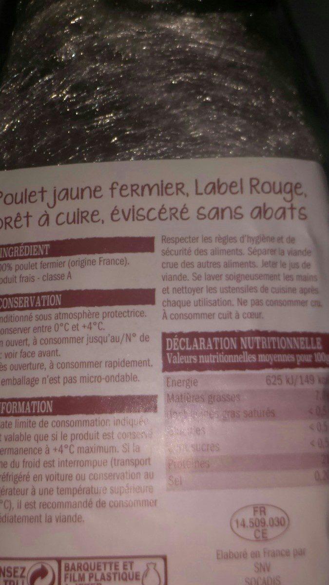 Poulet fermier jaune - Ingredients - fr