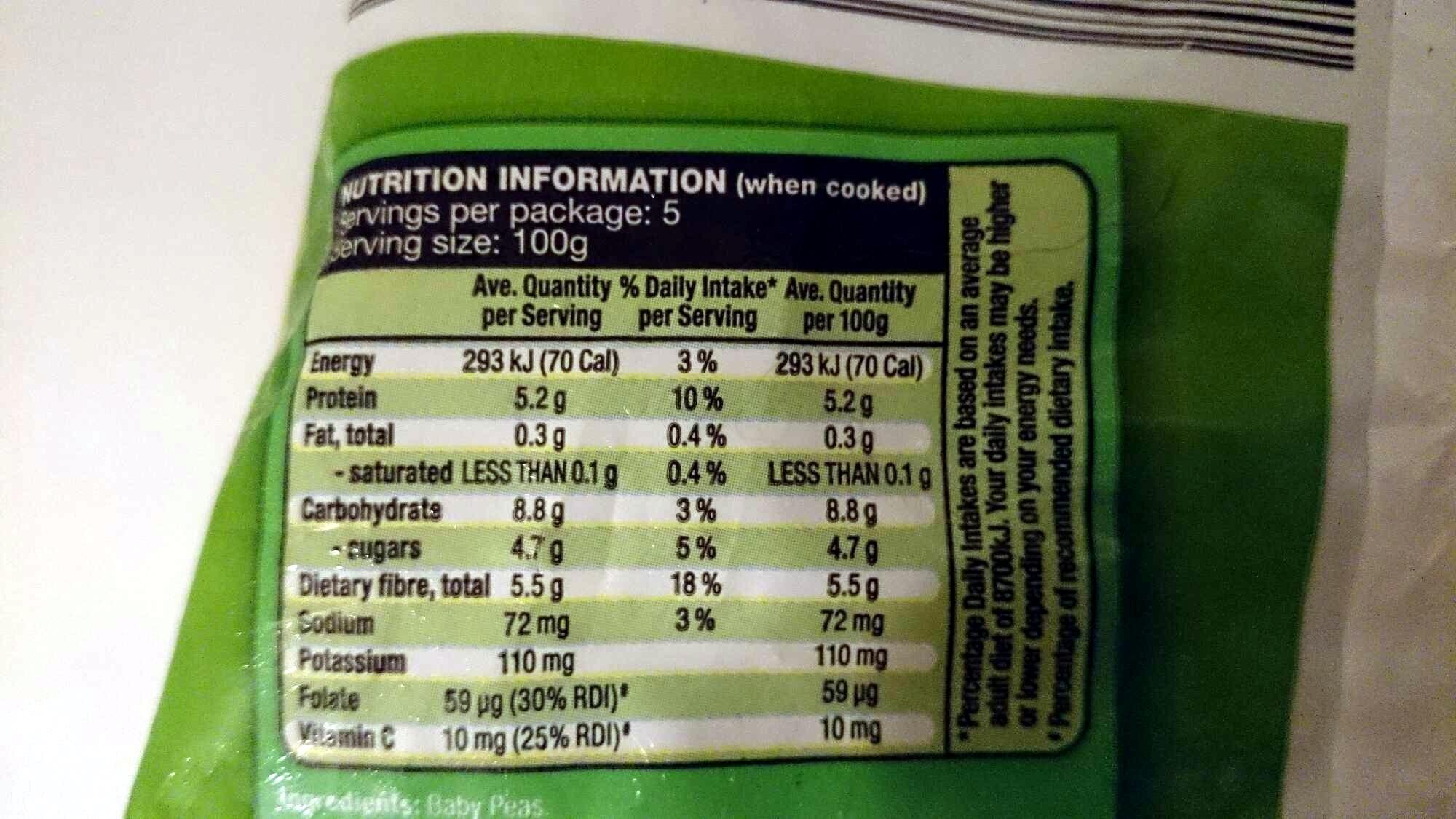 Farm Fresh Baby Peas - Nutrition facts - en