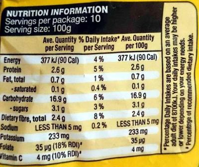 Farm Fresh Corn Kernels - Nutrition facts