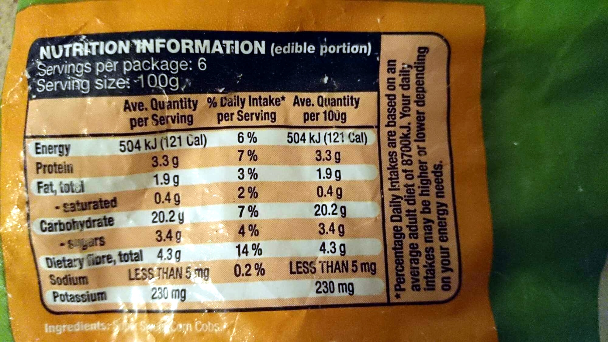 Corn Cobs Super Sweet - Nutrition facts