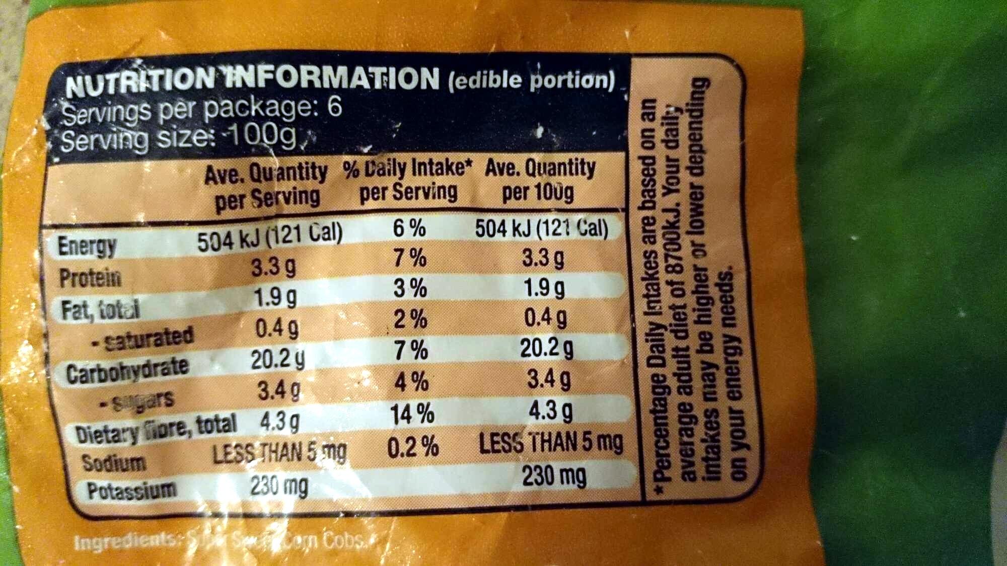 Corn Cobs Super Sweet - Nutrition facts - en