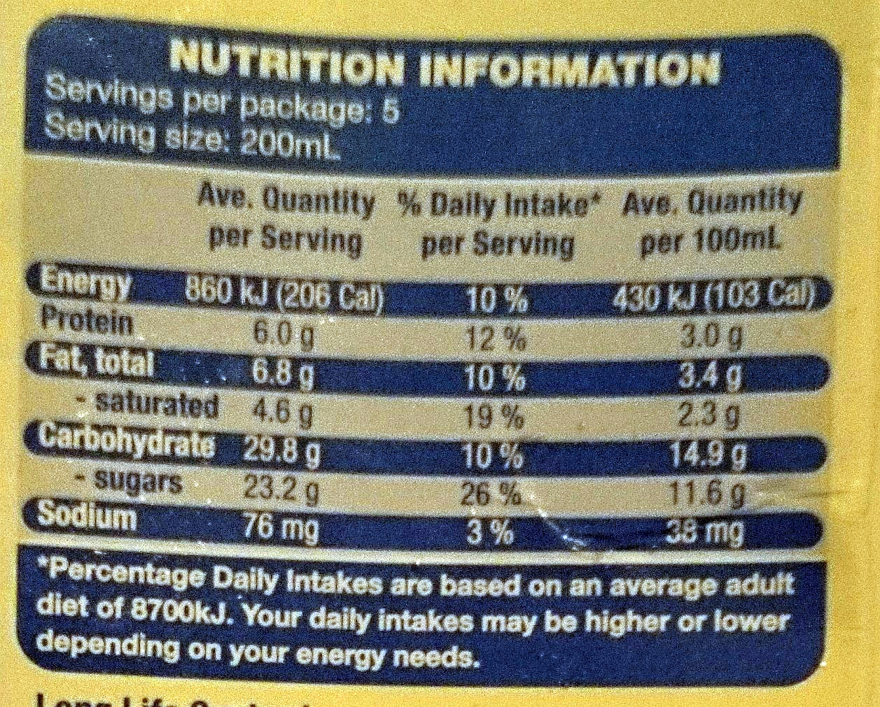 Farmdale Pouring Custard Creamy Vanilla Flavour - Nutrition facts
