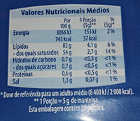 Manteiga comsal - Informations nutritionnelles