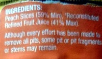 Australian Peach Slices in Juice - Ingredients