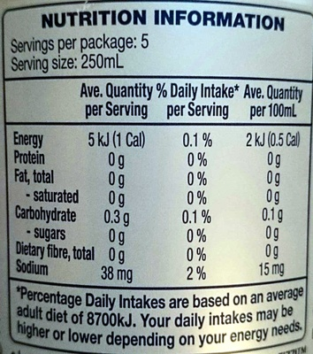 Fizzi Diet Lemonade - Nutrition facts - en