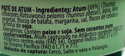 Paté de Atum - Ingredients