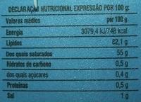 Milsani Manteiga - Sabor Tradicional dos Açores - Nutrition facts