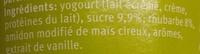 Yogourt Rhubarbe/Vanille - Ingredients - fr
