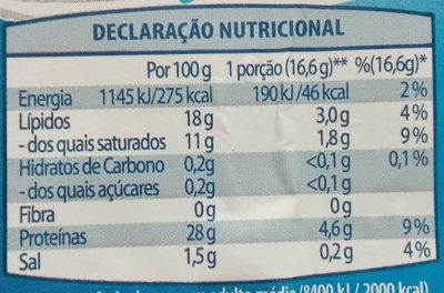 Queijo Flamengo Fatiado light - Nutrition facts