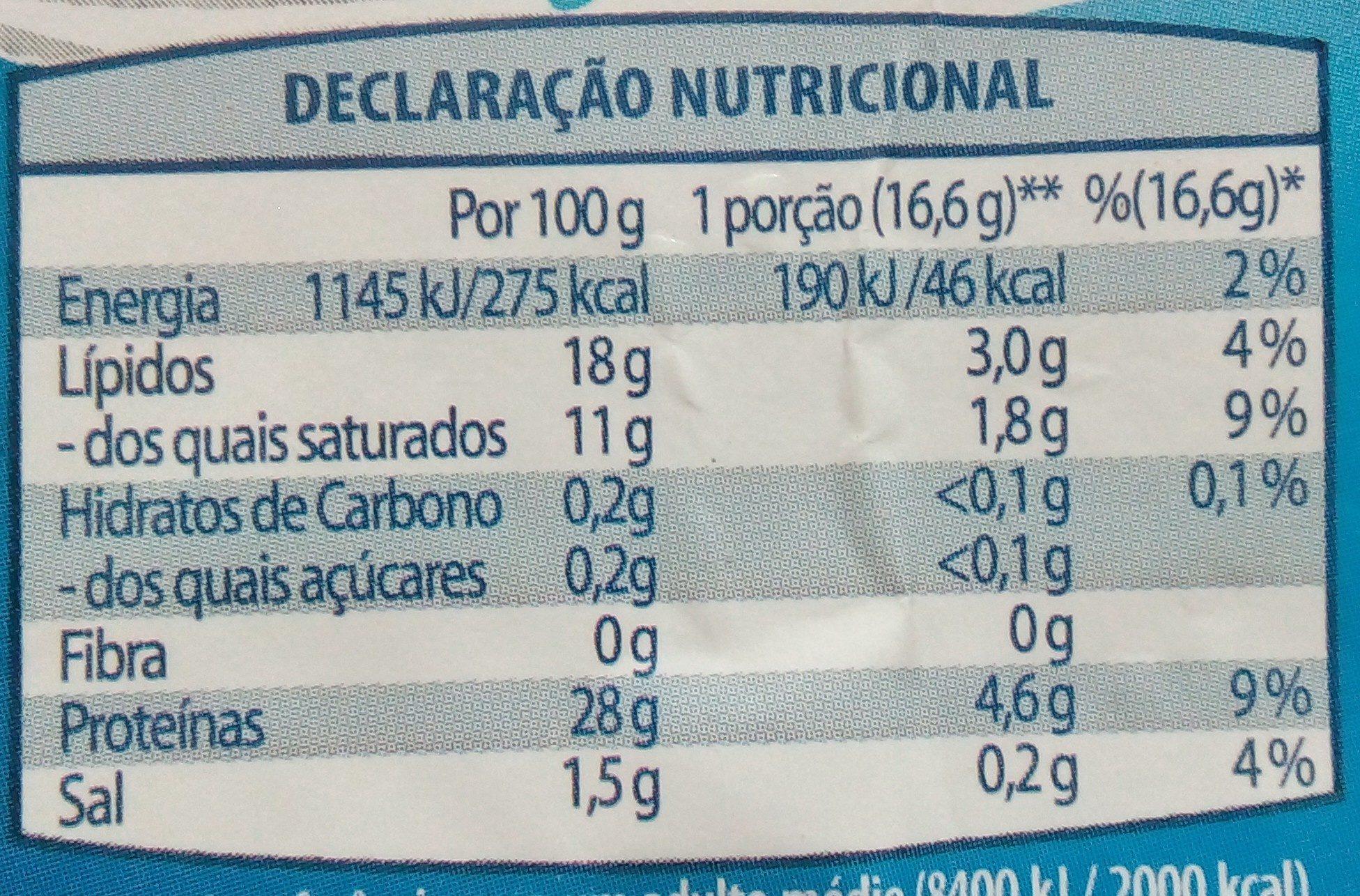 Queijo Flamengo Fatiado light - Nutrition facts - pt