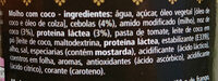 Molho com coco - Ingredients