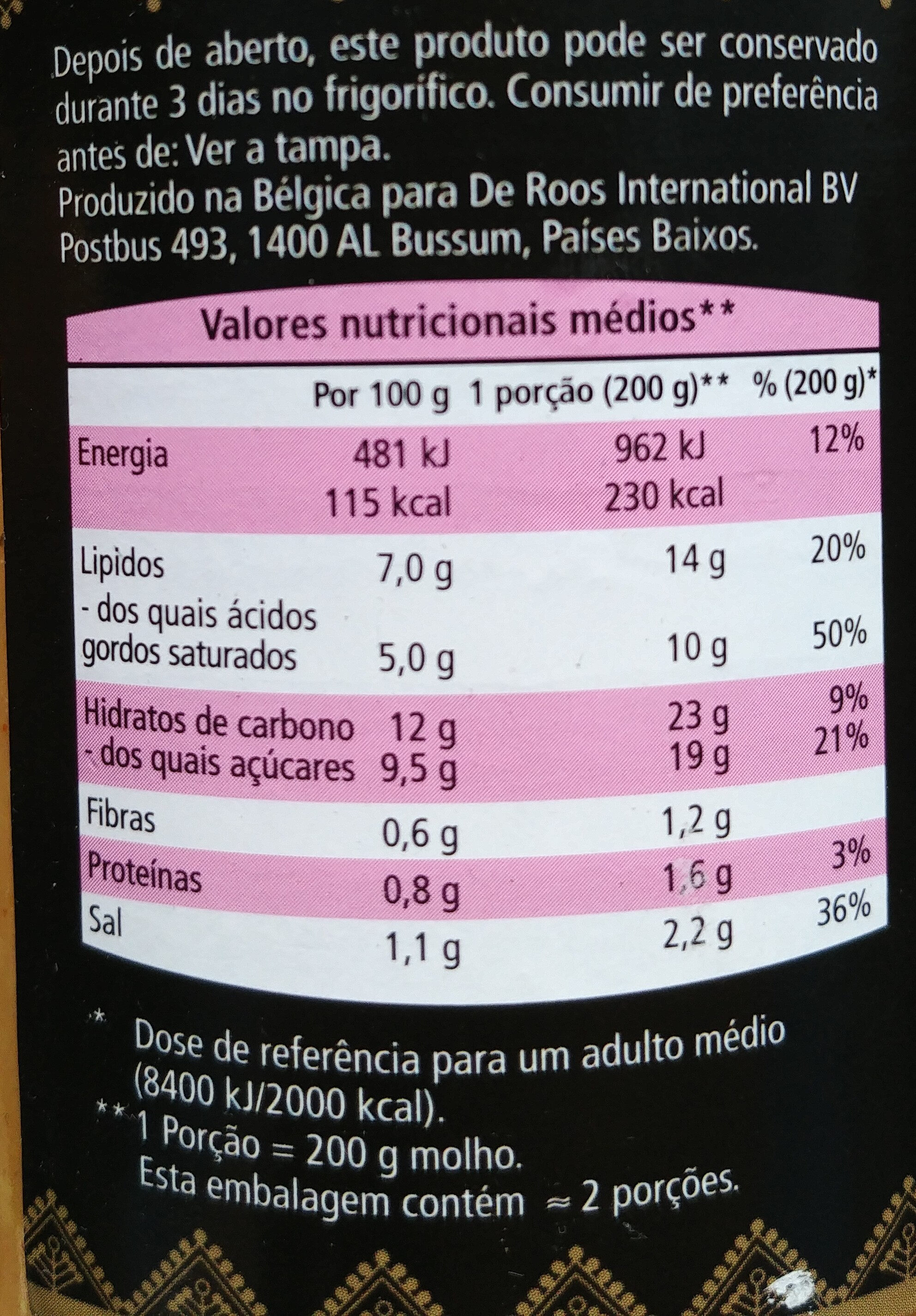 Molho com coco - Nutrition facts