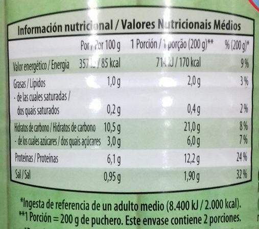Puchero vegetariano de judías con tiras de soja - Información nutricional - es