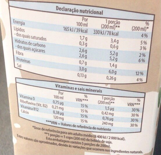 Bebida de soja - Informação nutricional - en