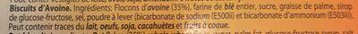 Biscuit d'avoine - Ingredients