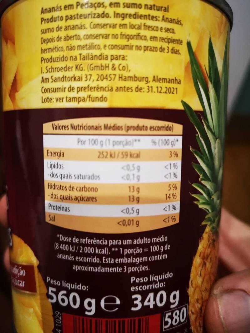 Ananás em pedaços - Información nutricional - es