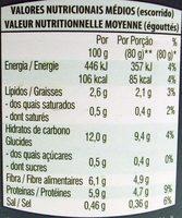 Grão de Bico Cozido - Informação nutricional
