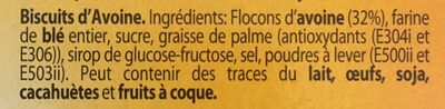 Bolacha aveia - Ingrédients - fr