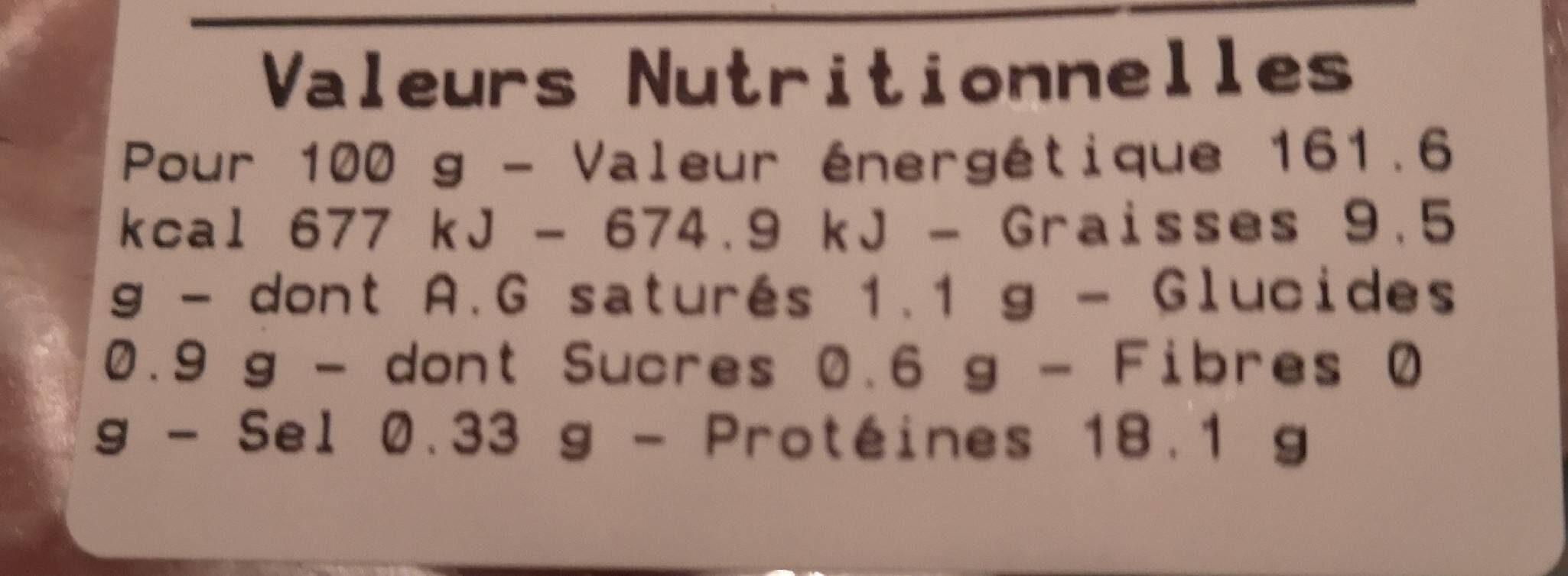 Jambon cuit supérieur 3 noix - Nährwertangaben