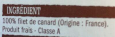 Filet de canard - Ingredients