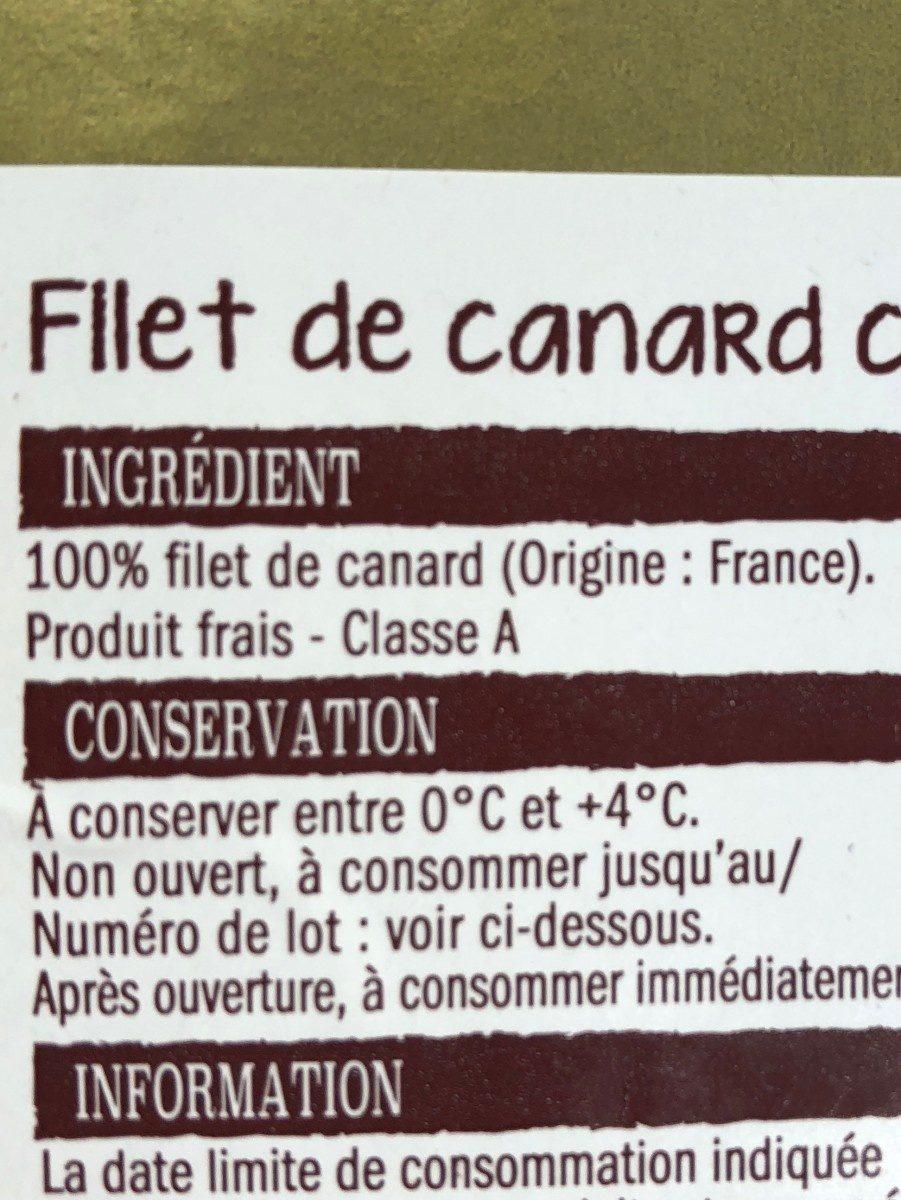 Filet de canard - Ingrédients