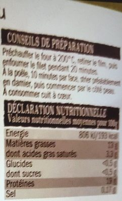 Filet de canard - Informations nutritionnelles