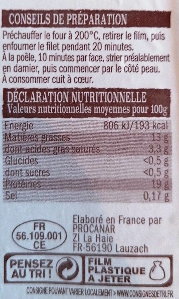 Filet de canard - Nutrition facts - fr