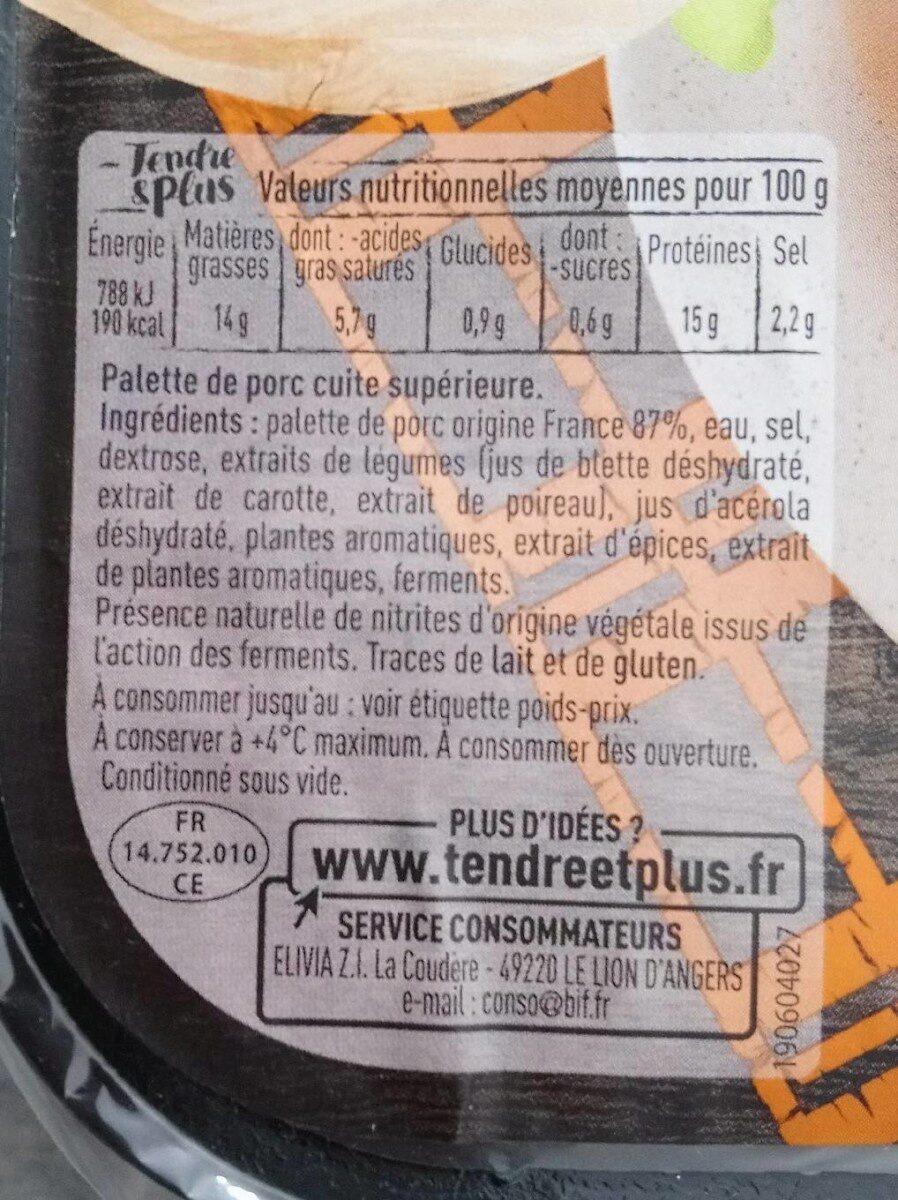 Palette de porc cuite - Nutrition facts