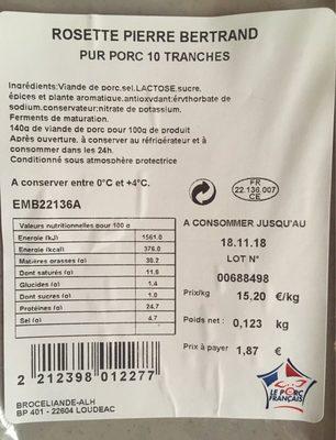 Rosette, pur porc - Produit - fr