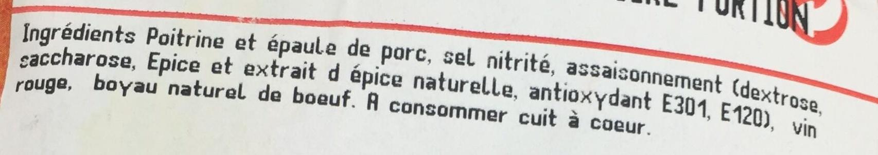 Deux saucissons à cuire - Ingrediënten