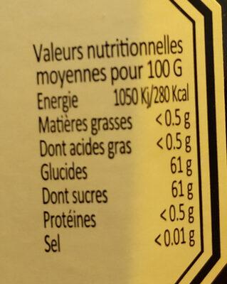 confiture fermière cassis - Nutrition facts - fr