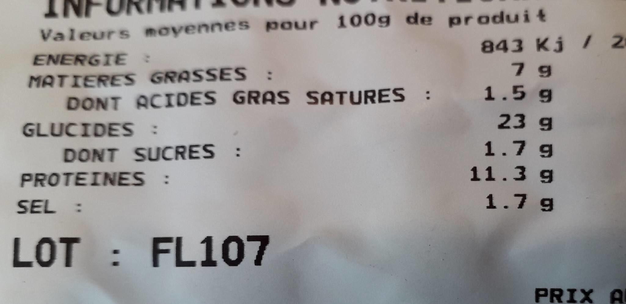 Fleischnacke sous-vide - Informations nutritionnelles - fr
