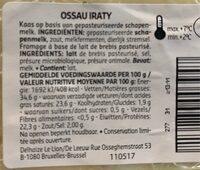 Fromage ossau - Voedingswaarden - fr