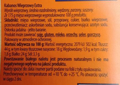 Kabanos wieprzowy extra - Ingredients - pl