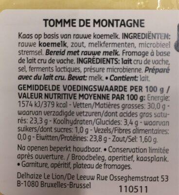 Tomme de montagne - Voedingswaarden - fr