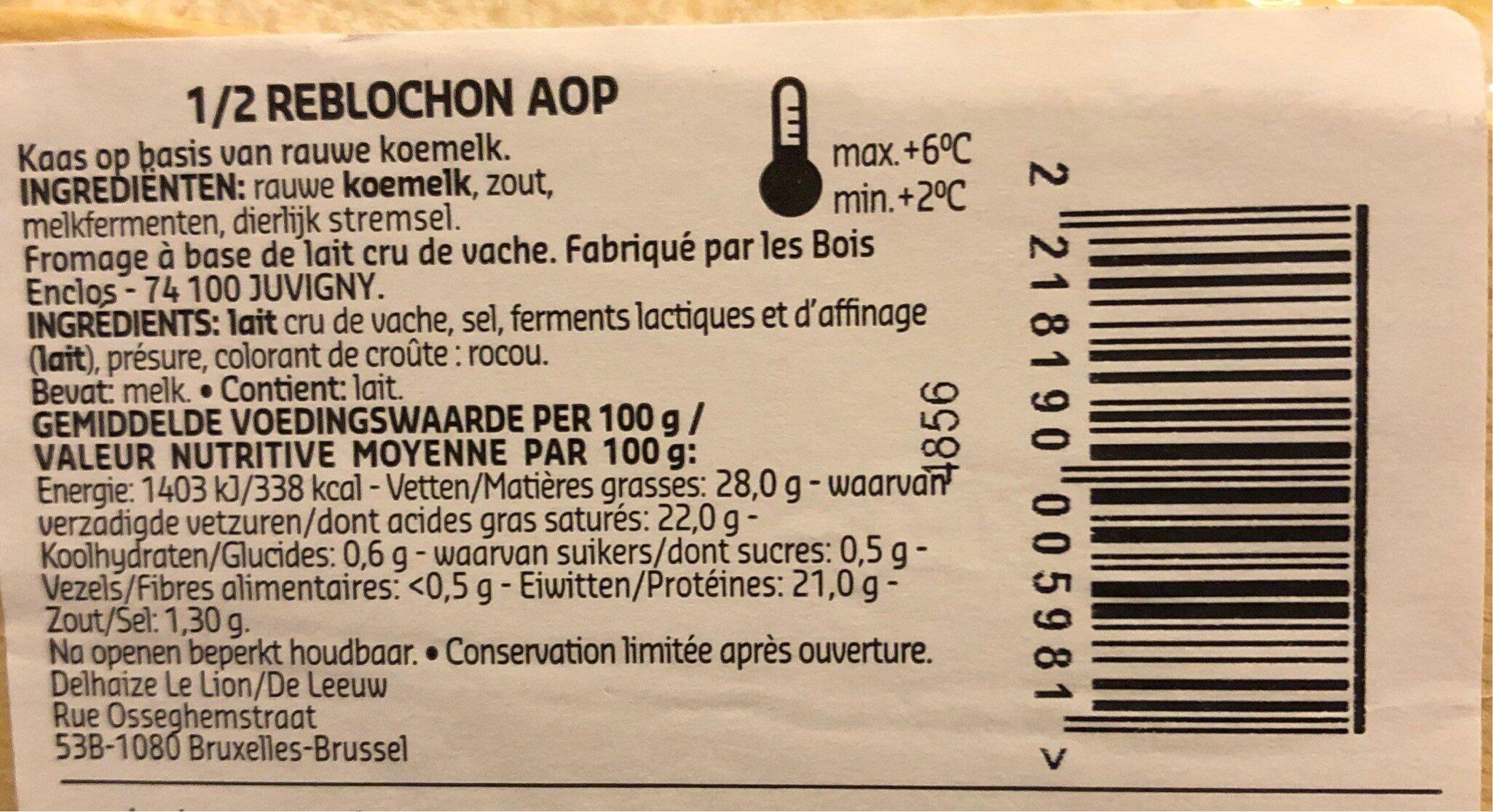 Reblochon - Nutrition facts - fr