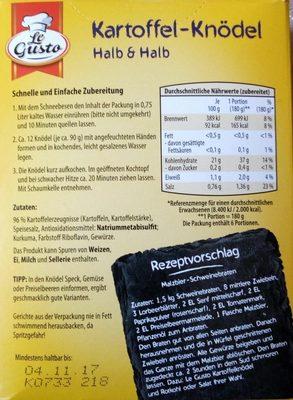 Kartoffelknödel, halb und halb - Ingredienti - fr