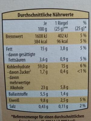 Knuspy Müsli-riegel, - Informations nutritionnelles