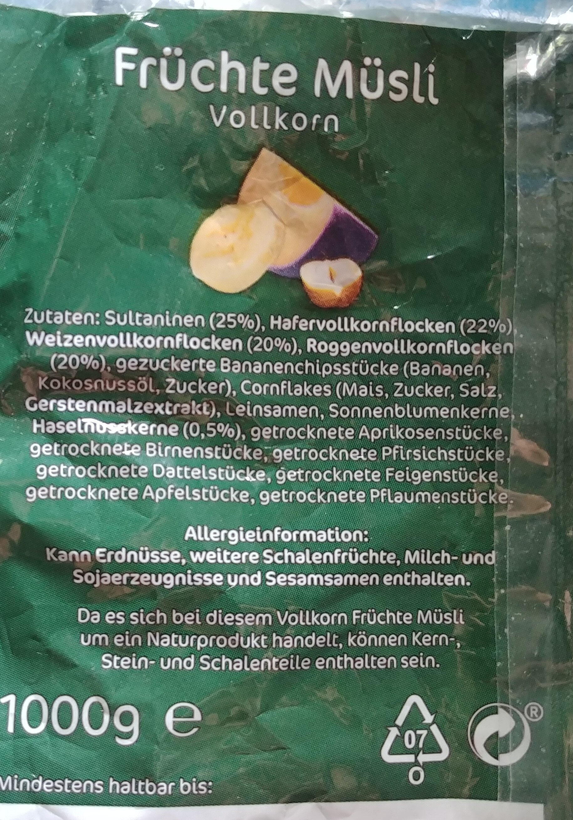Früchtemüsli Vollkorn/Trauben-Nuss Müsli Vollkorn - Ingrédients