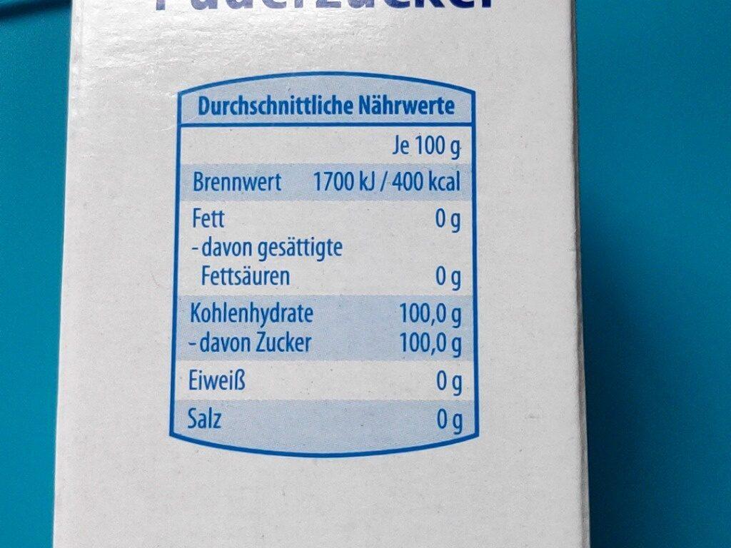 Puderzucker - Voedingswaarden - de