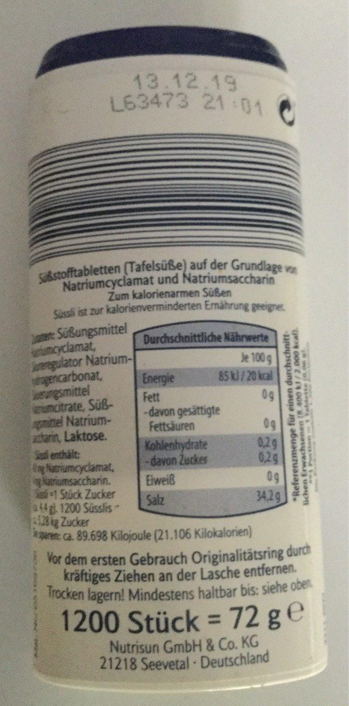 Süssli - Informations nutritionnelles - fr