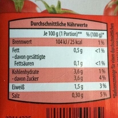 Tomaten passiert - Nutrition facts - de