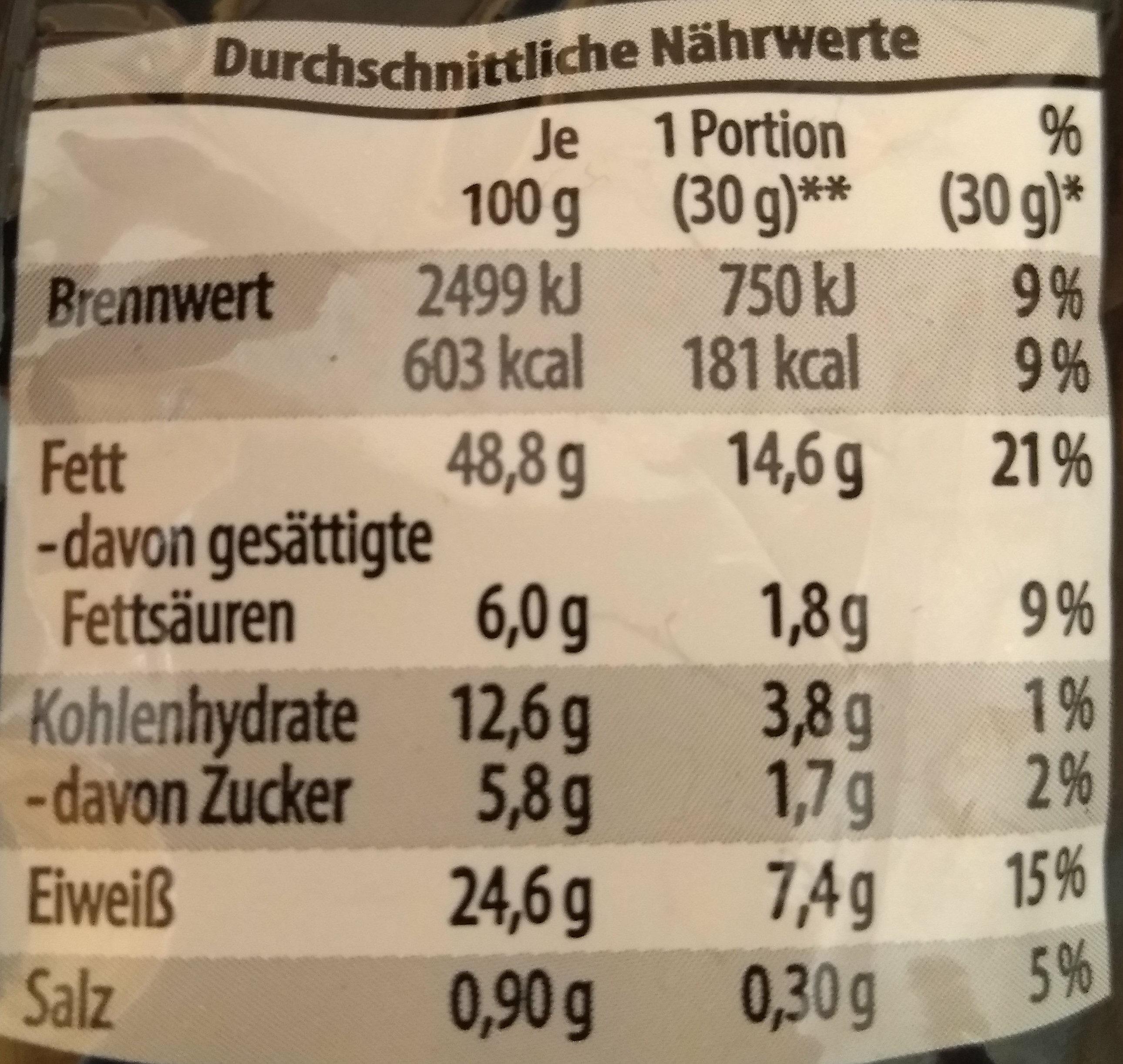 Erdnüsse Black Pepper - Voedigswaarden