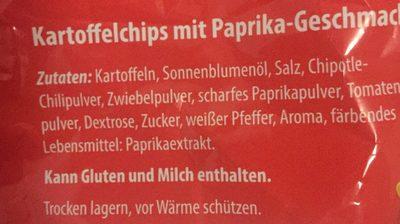 Chips Paprika Geschmack - Inhaltsstoffe