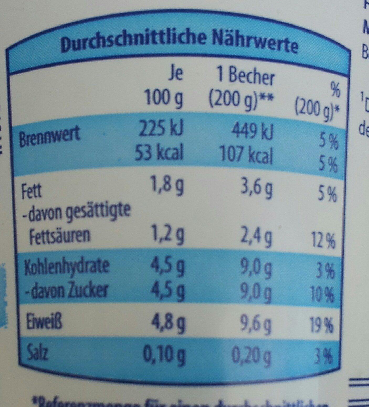 Fettarmer Joghurt mit L. CASEI-431 Kulturen - Nutrition facts