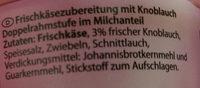 Frischkäse Knoblauch - Ingrédients