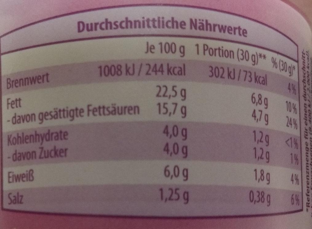 Frischkäse Knoblauch - Nutrition facts